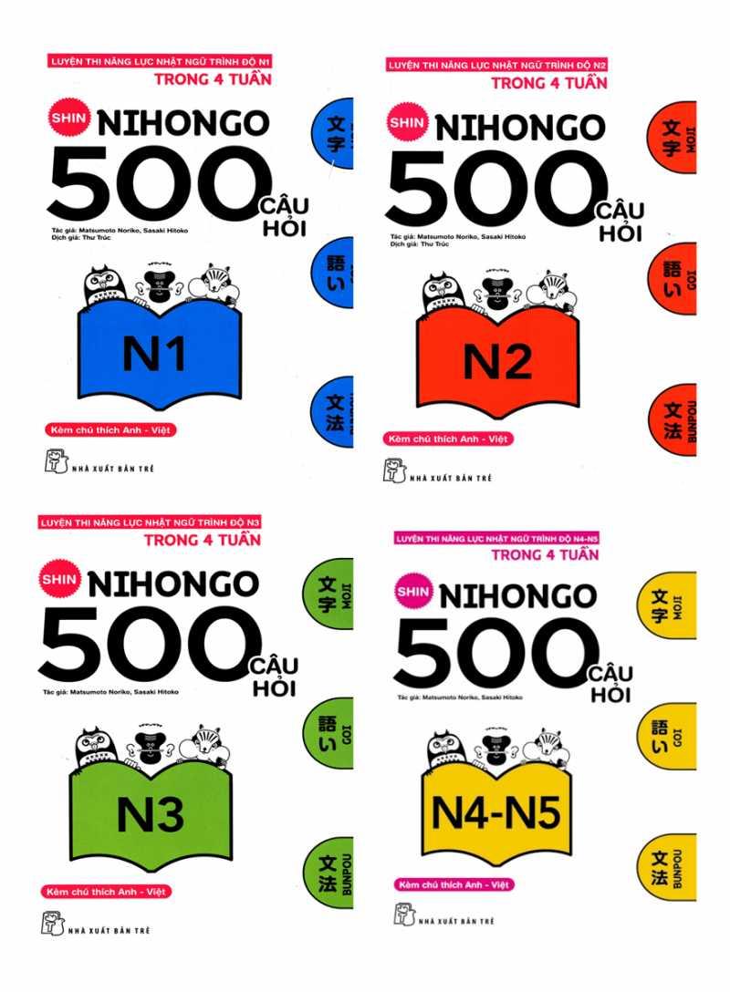 Combo Sách Shin Nihogo 500 Câu Hỏi Luyện Thi Năng Lực Nhật Ngữ
