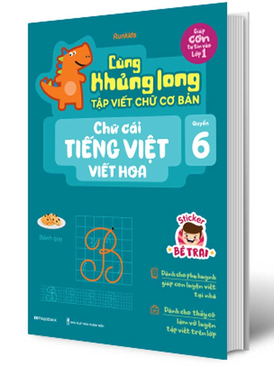 Cùng Khủng Long Tập Viết Chữ Cơ Bản - Chữ Cái Tiếng Anh Viết Hoa - Quyển 6 (Bé Trai)