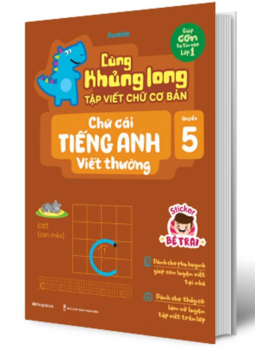 Cùng Khủng Long Tập Viết Chữ Cơ Bản - Chữ Cái Tiếng Anh Viết Thường - Quyển 5 (Bé Trai)